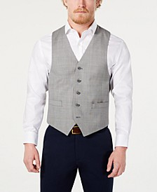 Men's Classic-Fit Airsoft Stretch Light Gray Suit Vest
