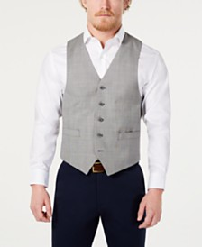 Michael Kors Men's Classic-Fit Airsoft Stretch Light Gray Suit Vest