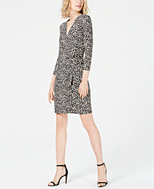 Anne Klein Foxtrot Printed Faux-Wrap Dress