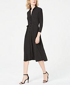 Anne Klein Dot-Print 3/4-Sleeve Shirtdress