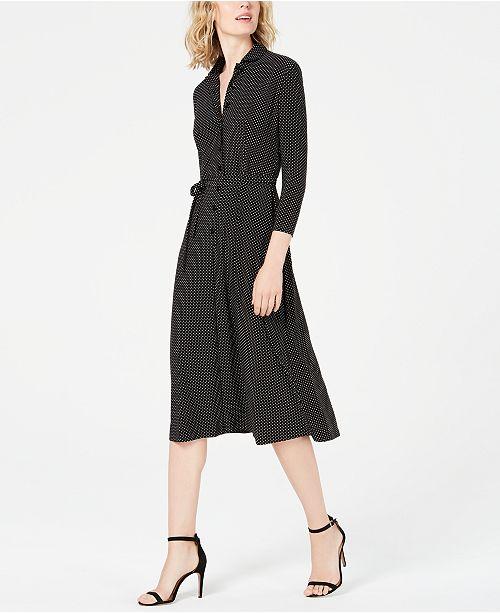 f5f6612b423 Anne Klein Dot-Print 3/4-Sleeve Shirtdress & Reviews - Dresses ...