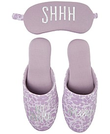 Novelty Scuff Slippers with Eye Mask, Online Only