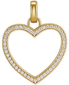 Michael Kors Gold-Tone Sterling Silver Large Pavé Heart Charm