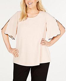 Calvin Klein Plus Size Short-Sleeve Scallop-Trim Top