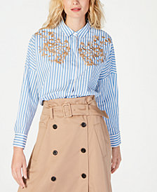 Marella Striped Embroidered Shirt