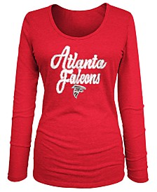 5th & Ocean Women's Atlanta Falcons Long Sleeve Triblend Foil T-Shirt