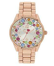 Betsey Johnson Multi-Colored Stone Dial Bracelet Watch