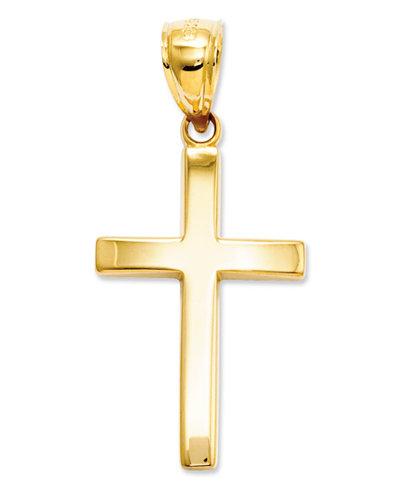 14k Gold Charm, Polished Cross Charm