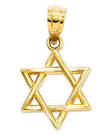14k Gold Charm, 3D Star of David Charm