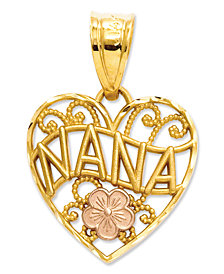 14k Gold and 14k Rose Gold Charm, Nana Heart Charm