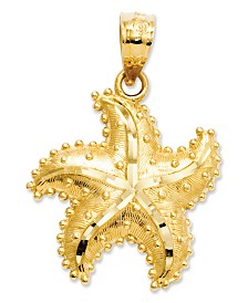 14k Gold Charm, Satin Starfish Charm