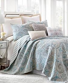 Spruce Aqua Paisley Quilt Set and Euro Sham Collection