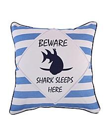 Home Sammy Shark Beware Pillow