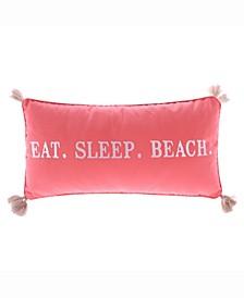 Home Coral Eat Sleep Beach Pillow
