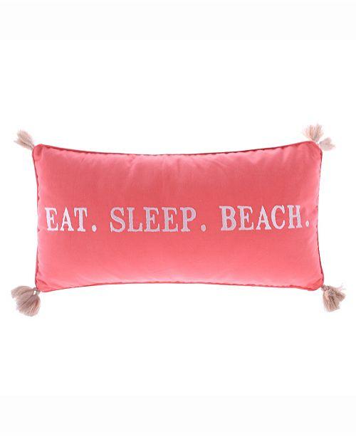 Levtex Home Coral Eat Sleep Beach Pillow