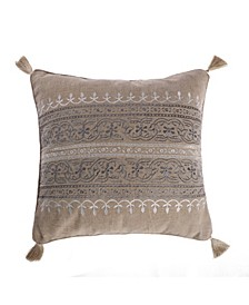 Home Trevino Embroidered Burlap Pillow