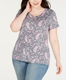 Lucky Brand Plus Size Floral-Print Burnout T-Shirt