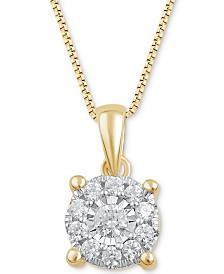 "Diamond Halo 18"" Pendant Necklace (1/3 ct. t.w.)"