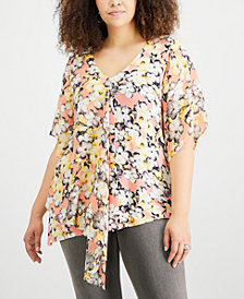NY Collection Plus Size Asymmetrical Chiffon Top