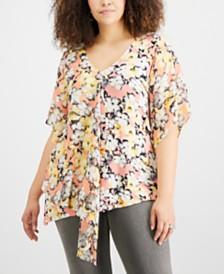 NY Collection Plus Size Asymmetrical Chiffon Top