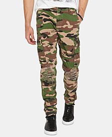 Buffalo David Bitton Men's Pagod Tapered Slim-Fit Camouflage Cargo Jeans