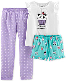 Carter's Little Girls 3-Pc. Panda-Print Pajamas Set