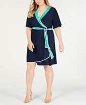 caa963d585d NY Collection Plus Size Flutter-Sleeve Wrap Dress