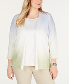 Alfred Dunner Plus Size Native New Yorker Studded Ombré Layered Sweater