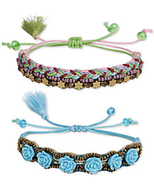Deepa Two-Tone 2-Pc. Set Beaded Flower Friendship Slider Bracelets
