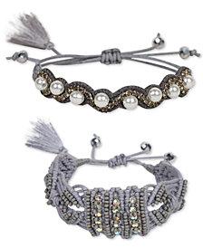 Deepa Two-Tone 2-Pc. Set Crystal, Bead, Imitation Pearl Friendship Slider Bracelets