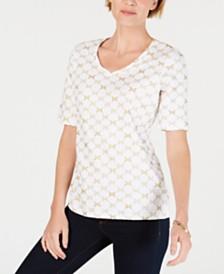 Karen Scott Petite Printed V-Neck Top, Created for Macy's