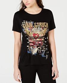 GUESS Corset-Detail Graphic T-Shirt