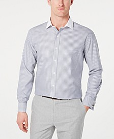 Men's Classic/Regular Fit Non-Iron Supima Cotton Twill Bar Stripe French Cuff Dress Shirt, Created for Macy's
