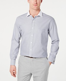 Tasso Elba Men's Classic/Regular Fit Non-Iron Supima Cotton Twill Bar Stripe French Cuff Dress Shirt, Created for Macy's