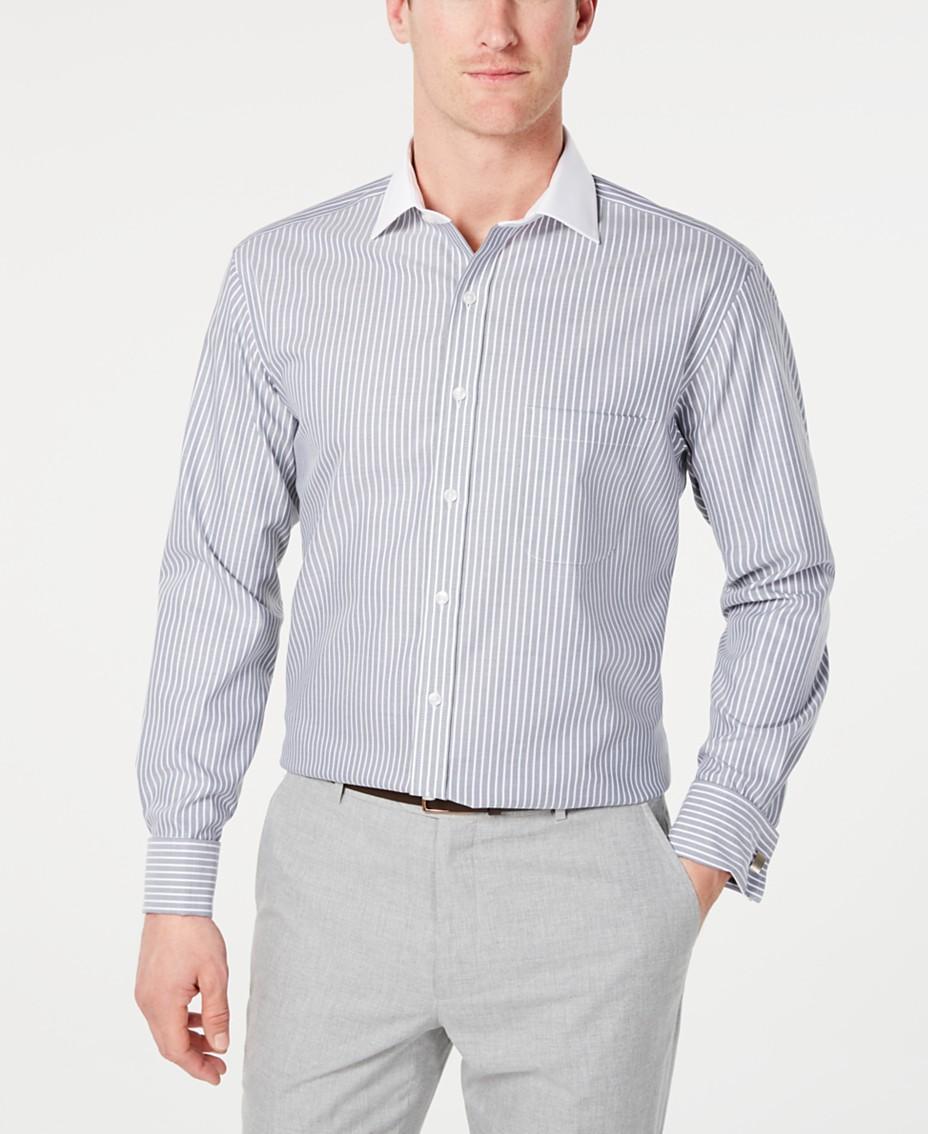 6259b49fc Tasso Elba Men's Slim-Fit Non-Iron Supima Cotton Twill Bar Stripe French  Cuff