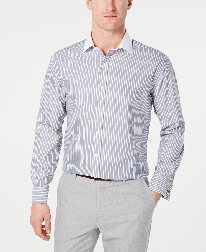 Tasso Elba - Men's Classic/Regular Fit Non-Iron Twill Bar Stripe French Cuff Dress Shirt