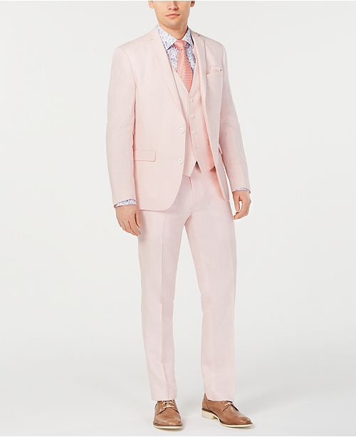 Bar III Men's Slim-Fit Linen Pink Suit Separates, Created for Macy's