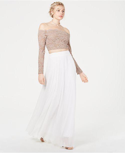 bb112707241 Juniors' Long-Sleeve Lace Top & Chiffon Skirt