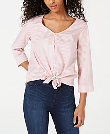 Crave Fame by Almost Famous Juniors' Cotton Tie-Front Shirt