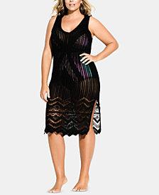 City Chic Trendy Plus Size Sheer Crochet Coverup Dress