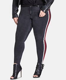 City Chic Trendy Plus Size Racing-Stripe Skinny Jeans