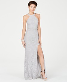 City Studios Juniors' Allover Lace & Imitation Pearl Gown