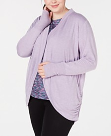 Ideology Plus Size Open-Front Cardigan, Created for Macy's