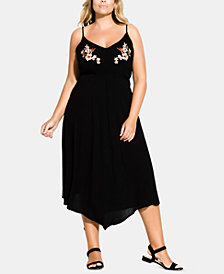 City Chic Trendy Plus Size Seville Embroidered Dress