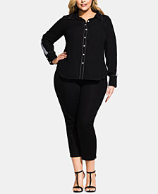 City Chic Trendy Plus Size Topstitched Stripe Button-Up Shirt