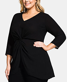 City Chic Trendy Plus Size Embellished Twist-Front Top