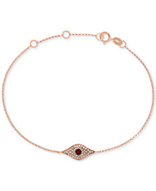 EFFY Certified Ruby (1/6 ct. t.w.) and Diamond Accent Evil Eye Bracelet in 14k Rose Gold