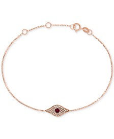 EFFY® Certified Ruby (1/6 ct. t.w.) and Diamond Accent Evil Eye Bracelet in 14k Rose Gold