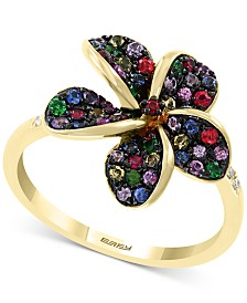EFFY Multi-Sapphire (3/4 ct. t.w.) and Diamond Accent Flower Ring in 14k Gold