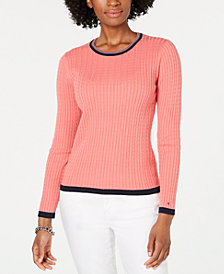 Tommy Hilfiger Cotton Cable-Knit Contrast-Trim Sweater, Created for Macy's